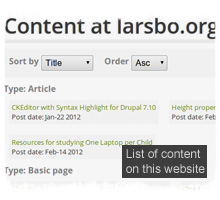 Overview of all content on larsbo.org