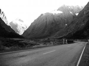 A south island road in black and white (New Zealand)
